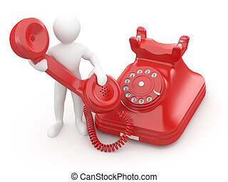 Contact us. Men with phone. 3d - Contact us. Man with phone...