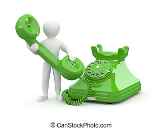 Contact us. Men with phone. 3d - Contact us. Man with phone ...