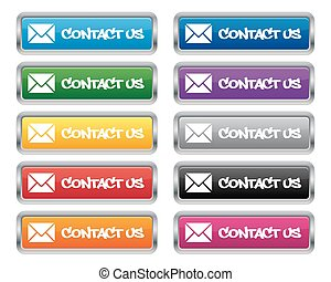 Contact us metallic buttons