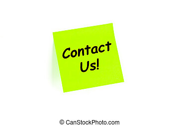 contact, us!, op, een, verstuurt-het aantekening