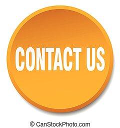 contact us orange round flat isolated push button