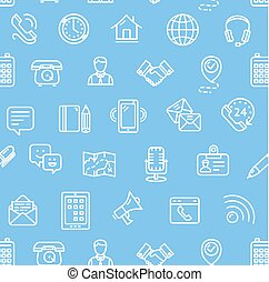 Contact Us Pattern Background. Vector
