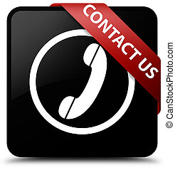 Contact us (phone icon) black square button red ribbon in corner