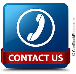 Contact us (phone icon) blue square button red ribbon in middle