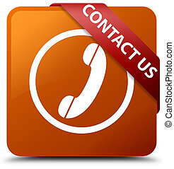 Contact us (phone icon) brown square button red ribbon in corner