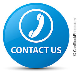 Contact us (phone icon) cyan blue round button