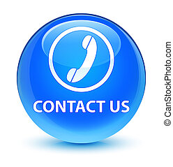 Contact us (phone icon) glassy cyan blue round button