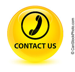 Contact us (phone icon) glassy yellow round button
