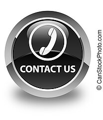 Contact us (phone icon) glossy black round button