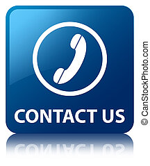 Contact Us (phone icon) glossy blue reflected square button