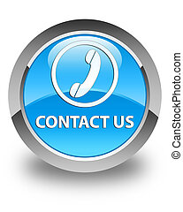 Contact us (phone icon) glossy cyan blue round button