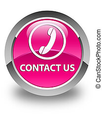 Contact us (phone icon) glossy pink round button