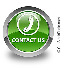 Contact us (phone icon) glossy soft green round button