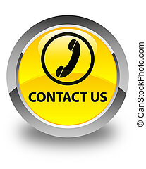 Contact us (phone icon) glossy yellow round button