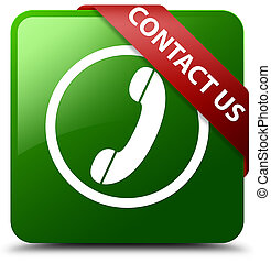 Contact us (phone icon) green square button red ribbon in corner