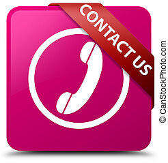 Contact us (phone icon) pink square button red ribbon in corner