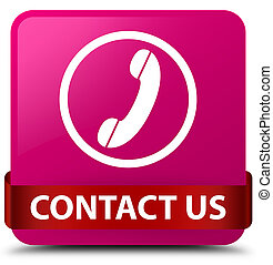 Contact us (phone icon) pink square button red ribbon in middle