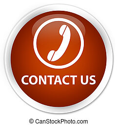 Contact us (phone icon) premium brown round button