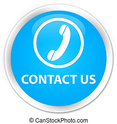 Contact us (phone icon) premium cyan blue round button