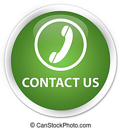 Contact us (phone icon) premium soft green round button