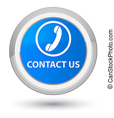 Contact us (phone icon) prime cyan blue round button