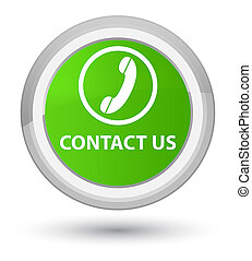 Contact us (phone icon) prime soft green round button