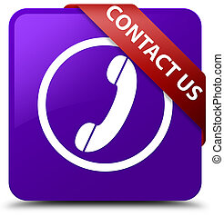 Contact us (phone icon) purple square button red ribbon in corner