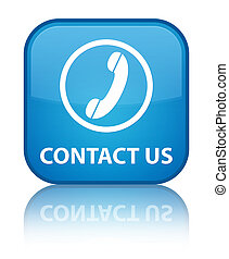 Contact us (phone icon) special cyan blue square button