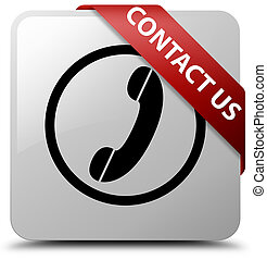 Contact us (phone icon) white square button red ribbon in corner