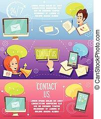 Contact Us Retro Cartoon Banners Set