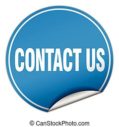 contact us round blue sticker isolated on white