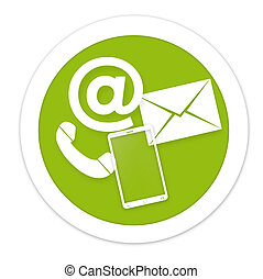 Contact Us round green icon button