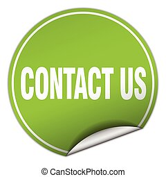 contact us round green sticker isolated on white