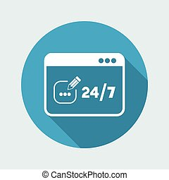 Contact us service 24/7 - Vector flat icon