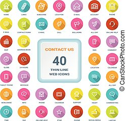 Contact Us - Set Of Round Flat Thin Line Web Icons Isolated On A White Background. Icon Set.