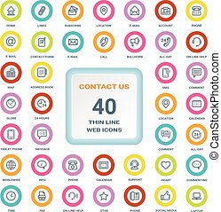 Contact Us - Set Of Thin Line Web Icons On A Circle Bordered Shields Isolated On A White Background. Icon Set.