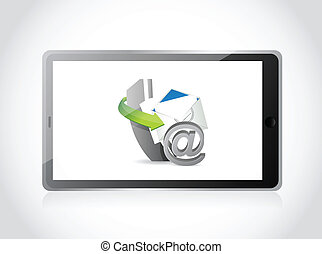 contact us set tablet illustration design