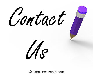 Contact Us Sign with Pencil Showing Customer Care