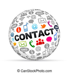 Contact Us - 3D sphere with the contact us on white...