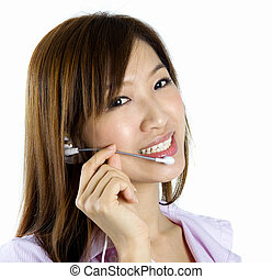 Contact Us! - Friendly Customer Representative with headset...