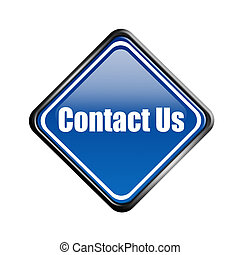 Contact Us - Blue informative signal of contact us over...