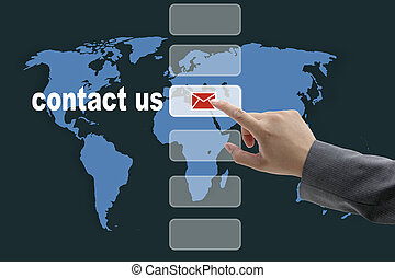 contact us - male business hand pushing on contact us button...