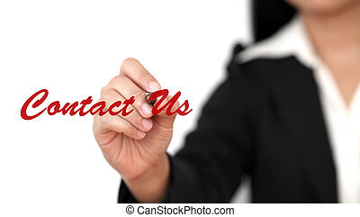 contact us - Asian business woman writing contact us on...