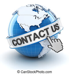 Contact us symbol with globe, 3d render