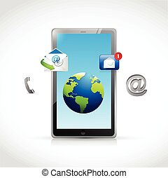 contact us tablet and icons illustration