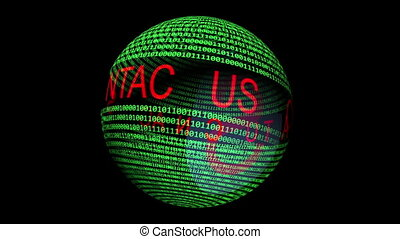 Contact us text on binary data rotating sphere