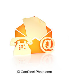 Contact us, via mail , internet, and phone concept on a white background