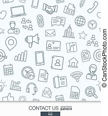 Contact us wallpaper. Black and white communication seamless pattern.