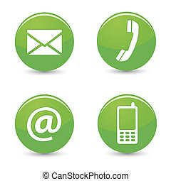 Website and Internet contact us page concept with green glossy buttons and icons isolated on white background.
