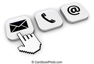 Contact Us Website Icons On Buttons